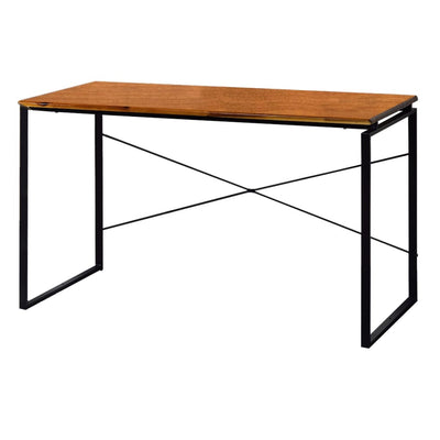 "47"" Rectangular Wood Top Desk with Metal Legs, Brown and Black By Casagear Home"