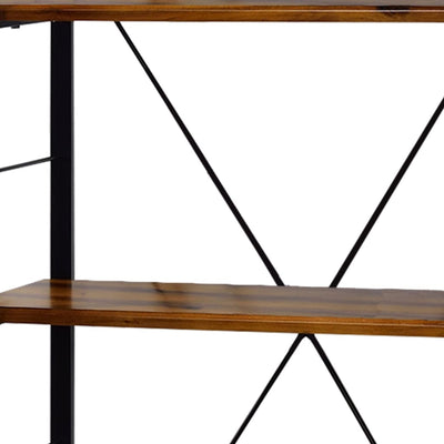 54 4-Shelf Bookshelf with Metal Frame Brown and Black By Casagear Home BM209629