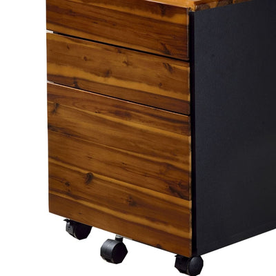 3-Drawer Wooden File Cabinet with Casters Black and Brown By Casagear Home BM209630