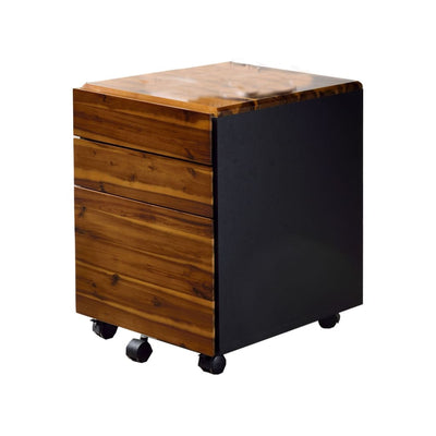 3-Drawer Wooden File Cabinet with Casters, Black and Brown By Casagear Home