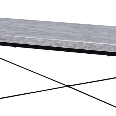 47 Rectangular Wood Top Table with Metal Legs White and Black By Casagear Home BM209631