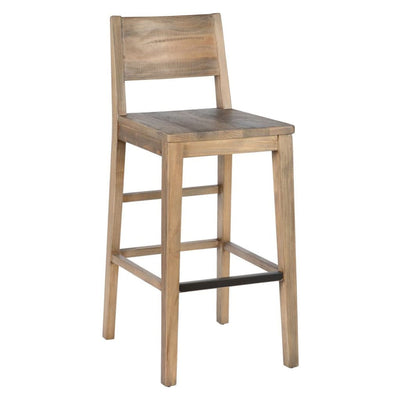 Reclaimed Wood Counter Stool with Cut Out Backrest Distressed Brown By Casagear Home BM210345