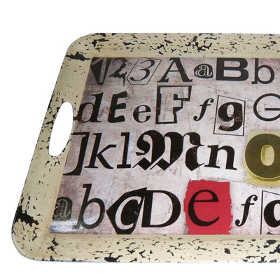 20 Distressed Alphabet Printed Tray with Handles Multicolor By Casagear Home BM210378