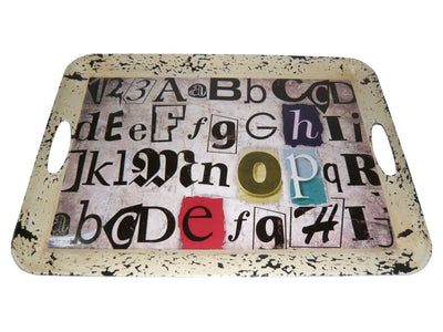 "20"" Distressed Alphabet Printed Tray with Handles, Multicolor By Casagear Home"