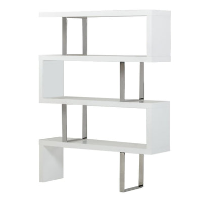 Zig Zag Wooden Frame Shelf Unit with Metal Braces Support, White and Silver By Casagear Home