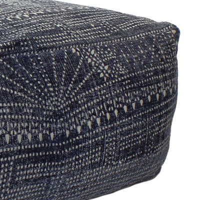 36 Upholstered Bakit Print Rectangular Pouf Blue By Casagear Home BM210551