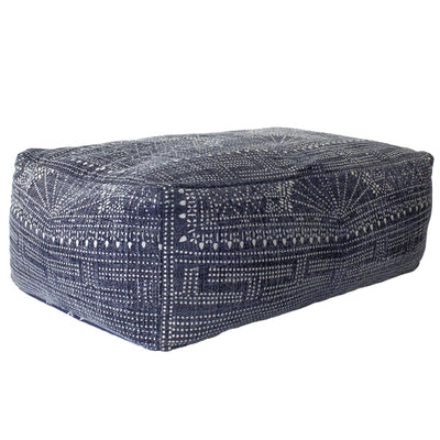 "36"" Upholstered Bakit Print Rectangular Pouf, Blue By Casagear Home"