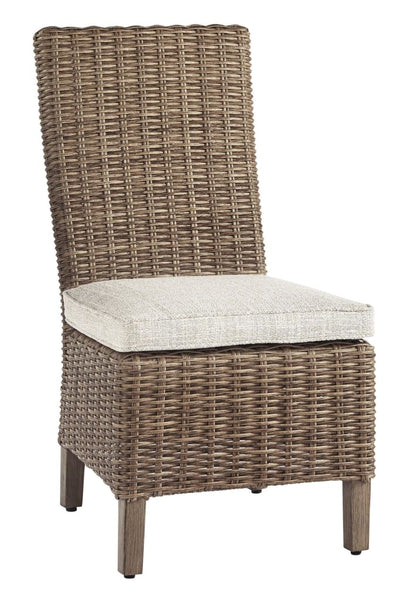 Wicker Woven Cushioned Side Chair, Set of 2, Brown and Beige By Casagear Home