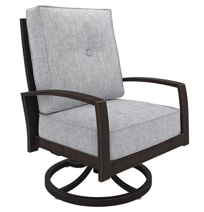 Cushioned Swivel Lounge Chair, Gray and Brown By Casagear Home