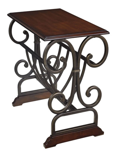 Scrolled Base Chair Side End Table, Brown and Black By Casagear Home