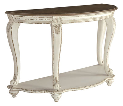 "48"" Half Moon Wooden Engraved Sofa Table, Brown and White By Casagear Home"