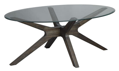 "46"" Oval Glass Top Boomerang Base Cocktail Table, Brown By Casagear Home"