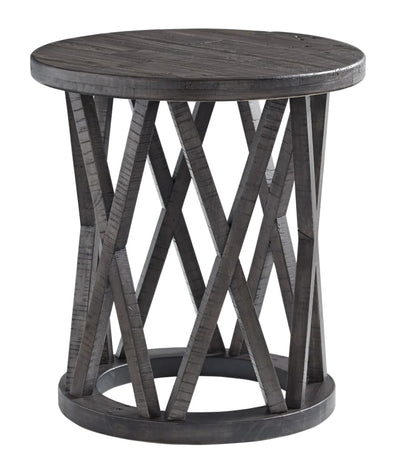 "22"" Round Plank Top End Table with X-Base, Gray By Casagear Home"