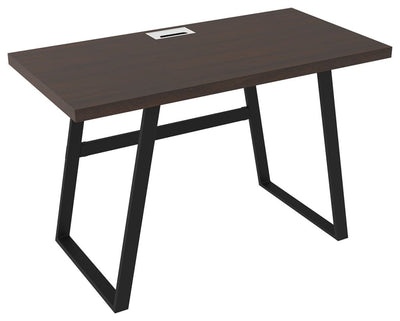 "47"" Writing Desk with Metal Base, Dark Brown and Black By Casagear Home"