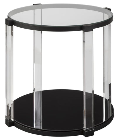 Round Glass Top Acrylic Leg End Table, Black and Clear By Casagear Home