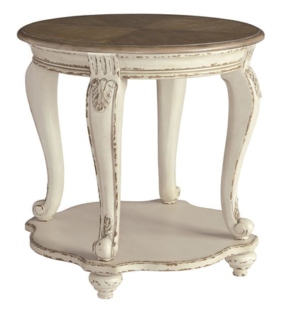 Round End Table with Bottom Shelf, Brown and Antique White By Casagear Home
