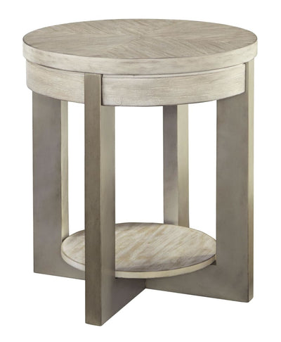 Round End Table with Open Shelf, Light Brown By Casagear Home