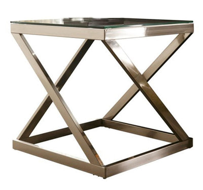 Glass Top End Table with X-Shape Legs, Silver By Casagear Home