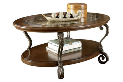 "47"" Oval Glass Top Cocktail Table with Bottom Shelf, Brown By Casagear Home"