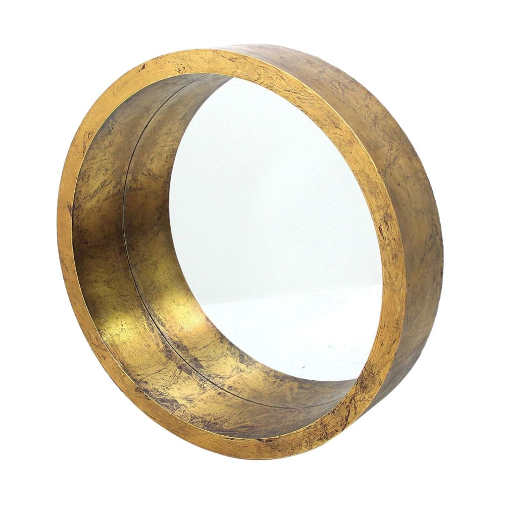 Rustic Style Wall Mirror with Round Tray Shape Frame, Gold and Silver By Casagear Home