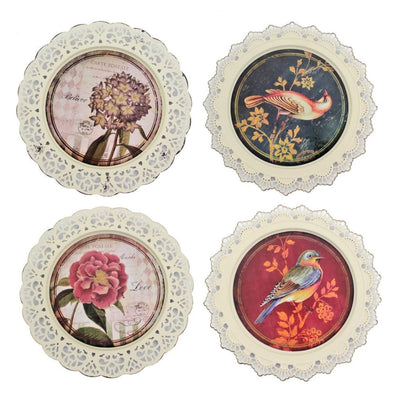 4 Piece Plate Design Wall Decor with Nature Inspired Theme Multicolor By Casagear Home BM211056