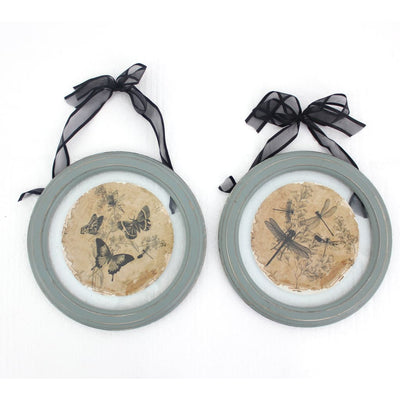 2 Piece Glass Plate Design Wall Decor with Ribbon Hanging Gray and Clear By Casagear Home BM211058