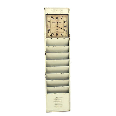 Antique Rustic Style Clock Design Wall Organizer with 6 Slots White By Casagear Home BM211068