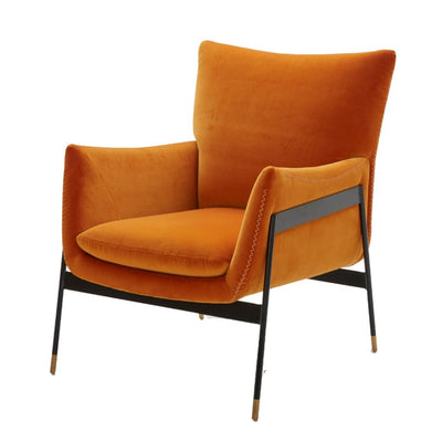 Upholstered Metal Frame Lounge Chair, Orange and Black By Casagear Home