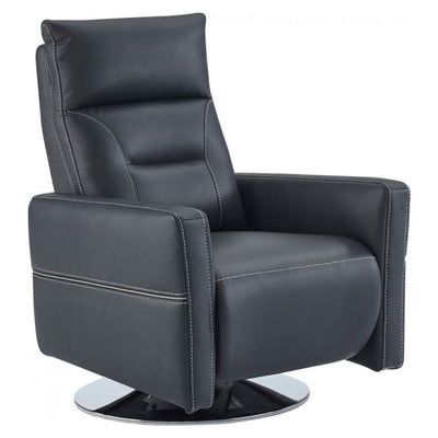 Upholstered Push Back Recliner with Round Metal Base Blue By Casagear Home BM211248