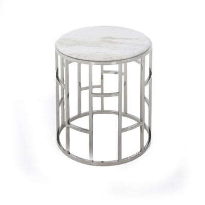 20 Round Marble Top End Table with Open Base White and Silver By Casagear Home BM211269