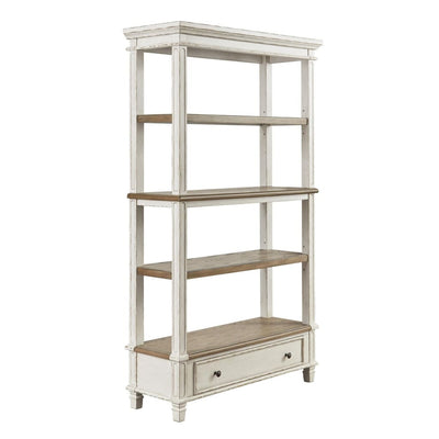 "75"" 4-Tier Bookcase with Bottom Drawer, Brown and White By Casagear Home"