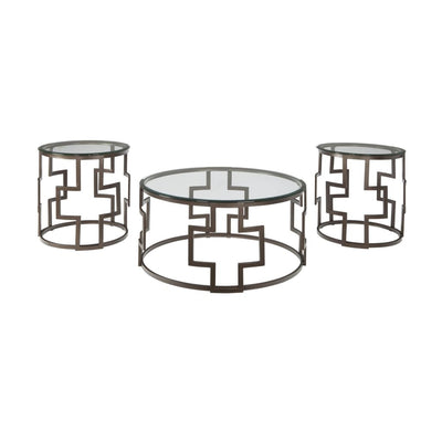 3 Piece Glass Top Round Table Set with Cut-Out Base, Bronze By Casagear Home