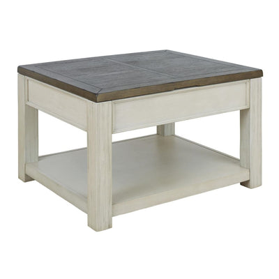 "33"" Dual Tone Lift Top Cocktail Table, Brown and White By Casagear Home"