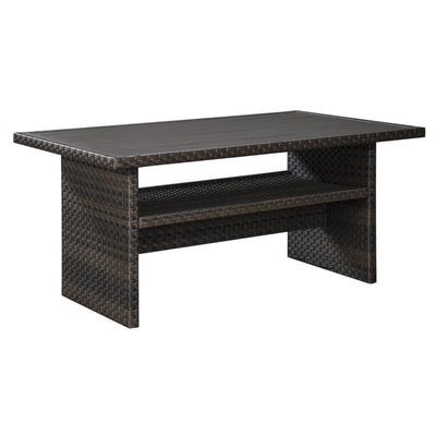 "59"" Wicker Woven Table with Open Shelf, Dark Brown By Casagear Home"