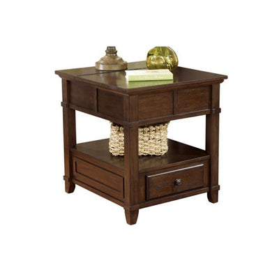 1 Drawer Lift Top End Table with Power Hub, Brown By Casagear Home