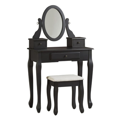 3 Drawer Cabriole Leg Vanity Set with Mirror, Black By Casagear Home