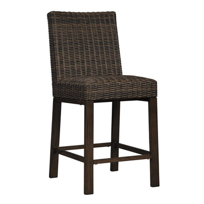 Wicker Frame Cushioned Barstool, Set of 2, Brown By Casagear Home