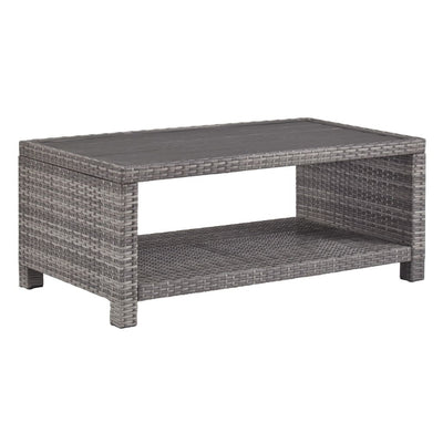 Wicker Woven Cocktail Table with Open Shelf, Gray By Casagear Home