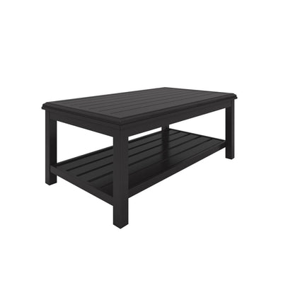 "47"" Plank Style Cocktail Table with Open Shelf, Black By Casagear Home"