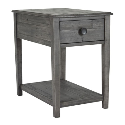 1 Drawer End Table with Open Shelf, Gray By Casagear Home