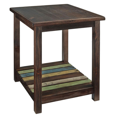 Slated Open Bottom Shelf End Table, Brown By Casagear Home