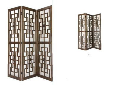 60 3 Panel Square Cut-Out Wood Room Divider Brown By Casagear Home BM213454