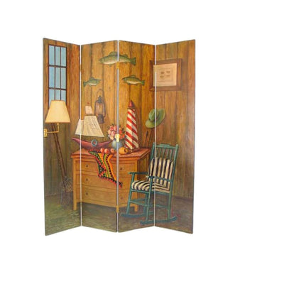 64 4 Panel Aquatic Life Wood Room Divider Multicolor By Casagear Home BM213514