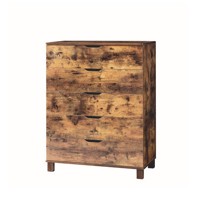 "43"" 5 Drawer Chest With Straight Legs, Distressed Brown By Casagear Home"