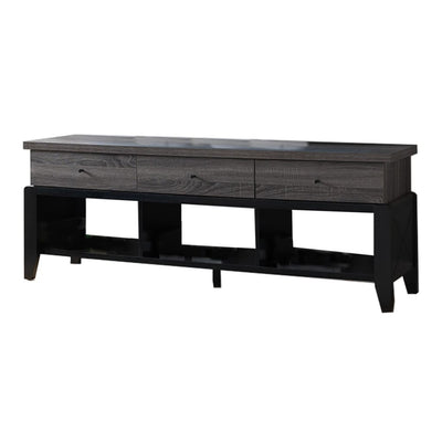 "60"" 3 Drawer 3 Cubbies Wooden TV Stand, Gray and Black By Casagear Home"
