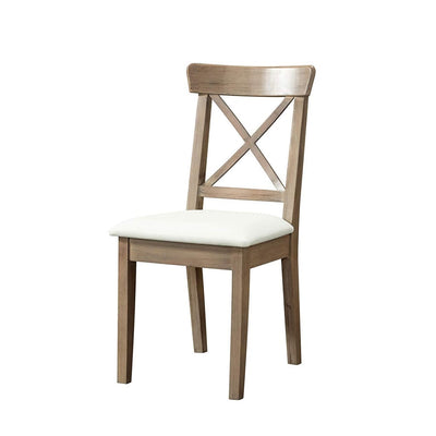 Upholstered X Back Dining Chair Set of 2, Brown and White By Casagear Home