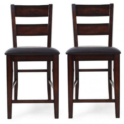 Cushioned Panel Cut Out Back Counter Chair, Set of 2, Brown By Casagear Home