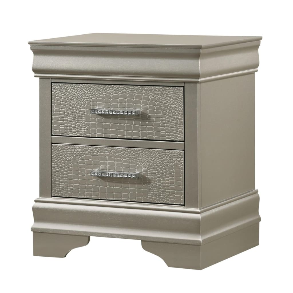 2 Textured Drawer Nightstand with Crystal Pull, Champagne By Casagear Home