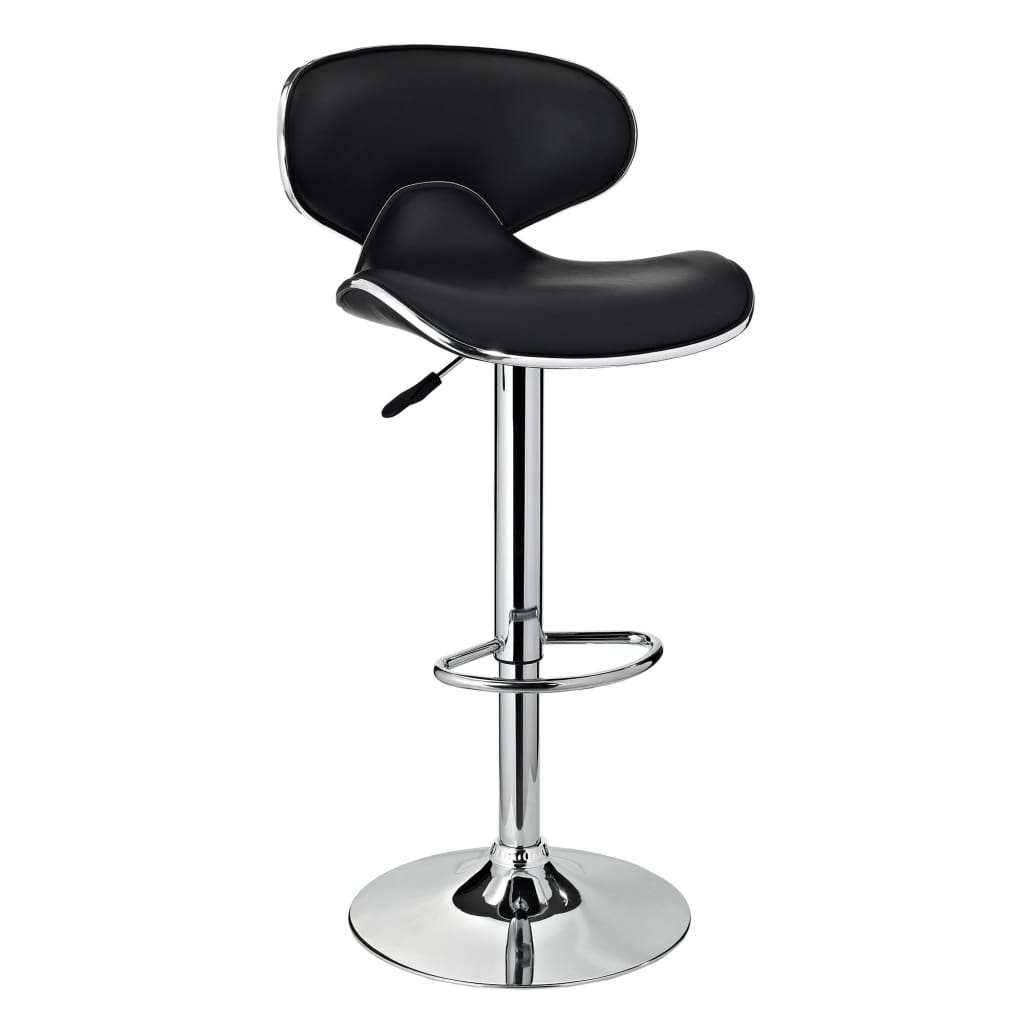 Adjustable Height Swivel Barstool with Leatherette Seat, Black and Silver by The Powell Company