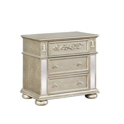 3 Drawers Ornate Carved Nightstand with USB Ports, Gold by Casagear Home